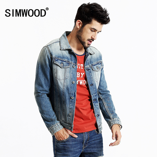 abf74fa98dab SIMWOOD 2016 New Autumn Winter Denim jacket Men Coats Fashion Causal 100%  cotton NJ6502