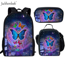 Jackherelook Beauty Butterfly Animal Print 3Set/Pcs Kid School Bags Kindergarten Book Satchel Women Backpack For Teen Girls