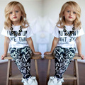 New 2pcs/set Summer Baby Child Girls Clothing Set European Style Letter Printed Short Sleeve Shirt + Geometric Printing Pants