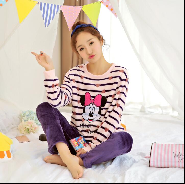 New Women   Pajamas     Sets   WAVMIT winter long Sleeve flannel   pajamas   Cartoon Print Cute Sleepwear warm Girl Pijamas Mujer Leisure