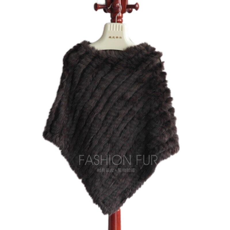 Ženy originální králičí kožešinové čepice kabát ručně tkané pončata zimní teplá zábaly chlupaté měkké večírky šál káva šedá
