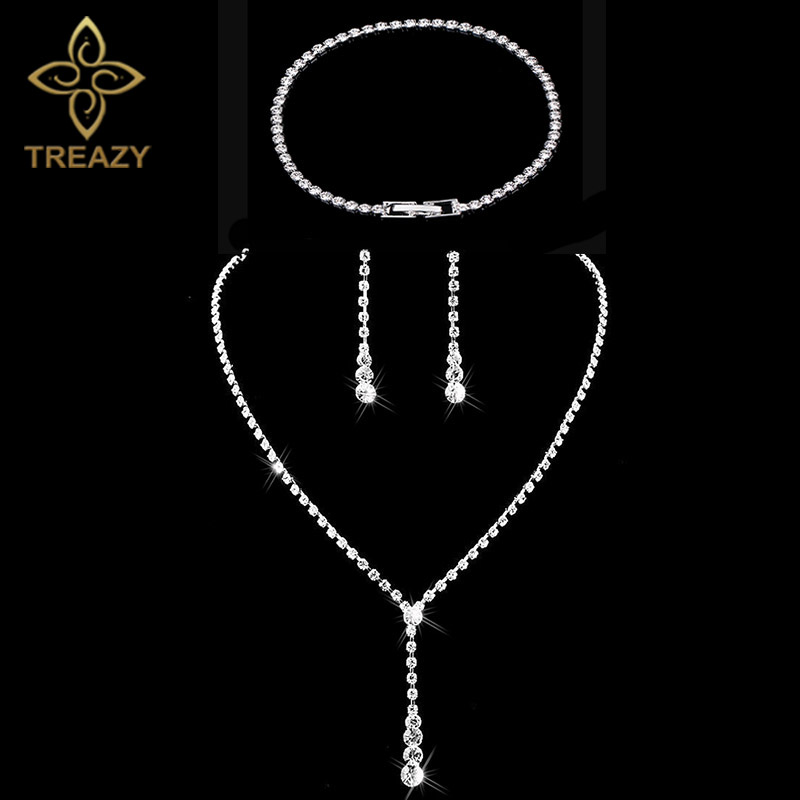 TREAZY Bridal-Jewelry-Sets Earrings Drop-Necklace Crystal Silver-Color Women Simple Long