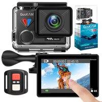 GEEKAM экшн Камера T1 Сенсорный экран со сверхвысоким разрешением Ultra HD, 4 K/30fps 20MP Wi-Fi подводный Водонепроницаемый велосипедный шлем Экстремальн...