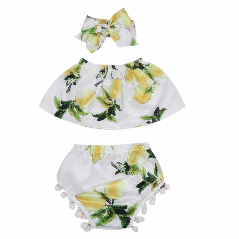 New Fashion Newborn Infant Baby Girl Clothes Print Lemon Green Tops Briefs Shorts Headband 3pcs Outfit Set