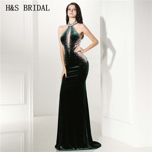Online Shop Hs Bridal Velvet Halter Sheath Sexy Hunter Green