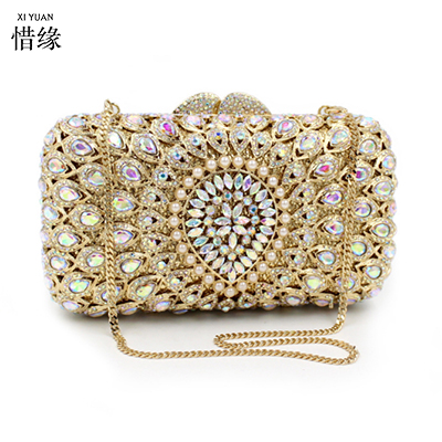 XIYUAN BRAND Woman Evening bag Diamond Rhinestone Clutches Crystal Wallet Wedding Purse Party Banquet messenger bags for gifts