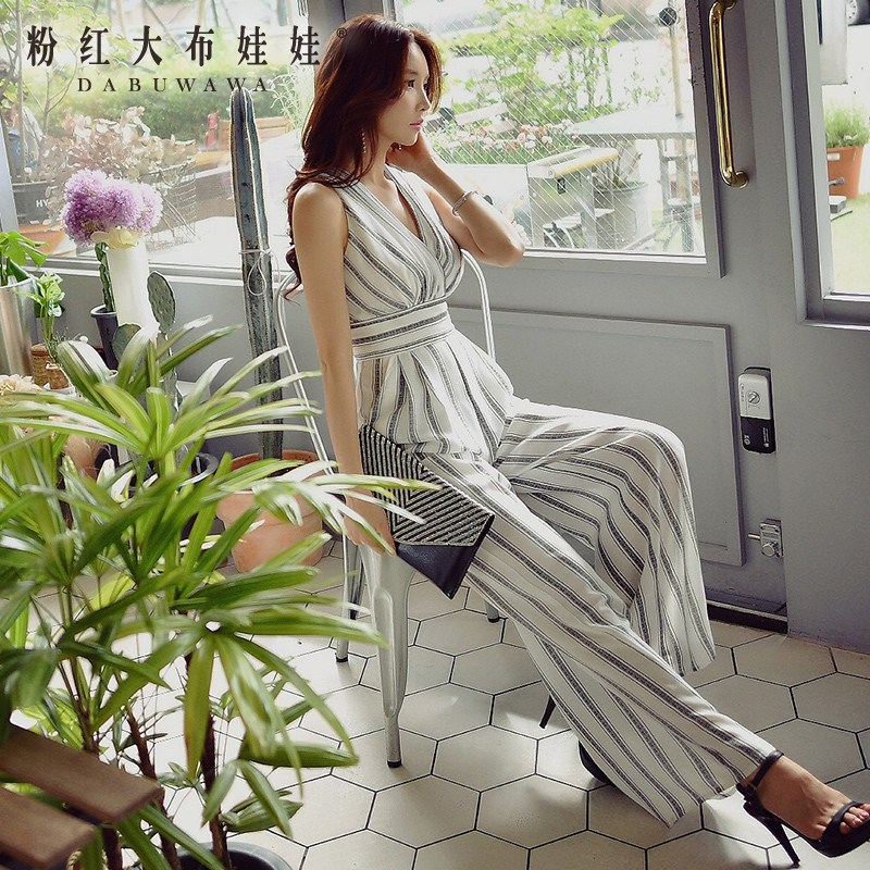 dabuwawa rompers summer 2017 new fashion v collar long black and white striped wide leg jumpsuits women pink doll