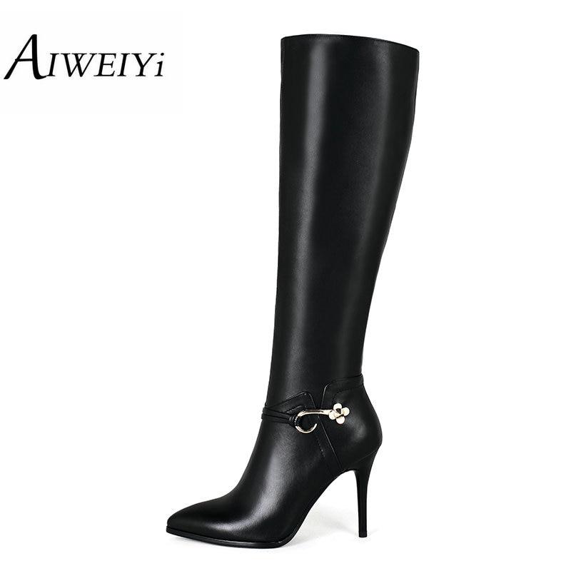 ФОТО AIWEIYi Womens Elegant Boots Genuine Leather Pointed toe Stillentio High Heels Platform Shoes Woman sapatos de salto feminino