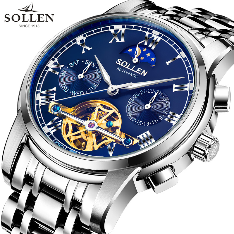 Mens watches Automatic mechanical watch tourbillon clock full steel business wristwatch relojes hombre top brand SOLLEN luxury mens watches top brand luxury automatic mechanical tourbillon watch men luminous stainless steel wristwatch montre homme
