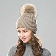 цена на Thicken warm Winter Hat Women's Knitted Wool Skullies Fluffy Pompom Ball women winter Beanie hat women Soft Cotton Bonnet