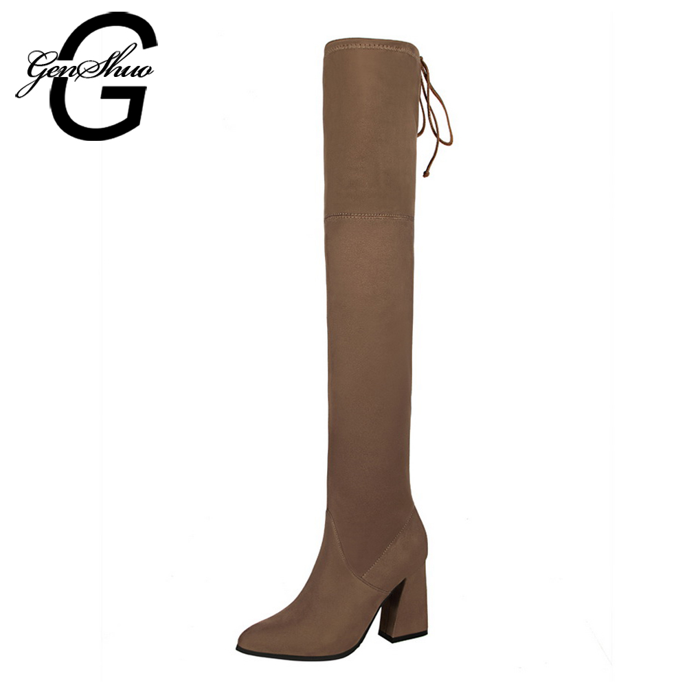 GENSHUO 2017 NEW Faux Suede Women Over The Knee Boots Lace Up Sexy Hoof Heels Women Shoes Soild Winter Warm Khaki Black 34-39