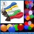 50 PÇS/LOTE CONDUZIU a Luz Piscando Balão Redondo, decorar casamento Balão de Látex balão Luminoso Brinquedos Infláveis