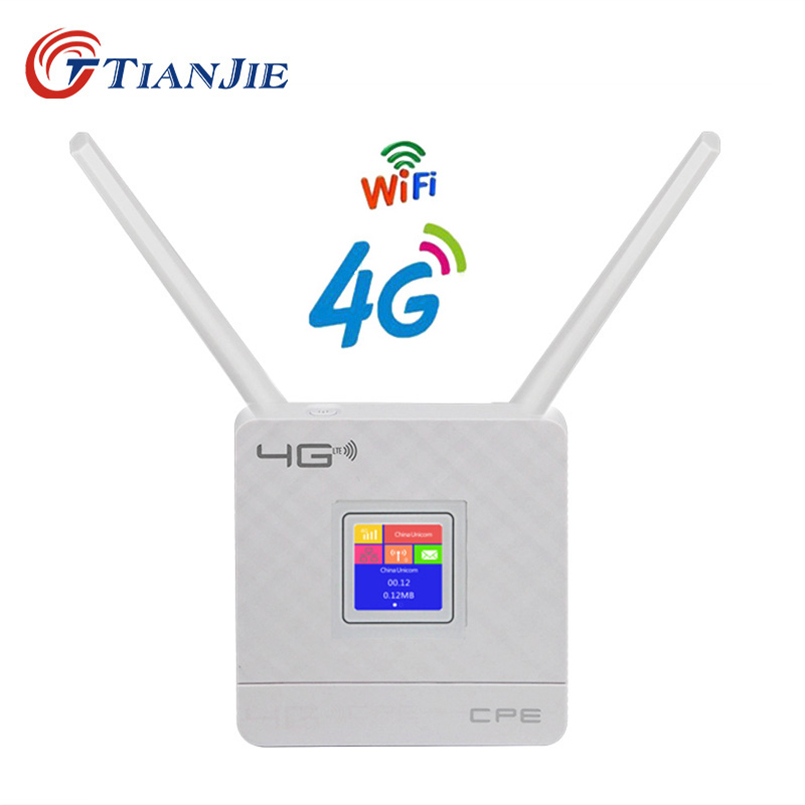 TIANJIE RJ45 WAN LAN Port 4G LTE Unlocked 300Mbps CPE wireless WIFI Router with 2 External