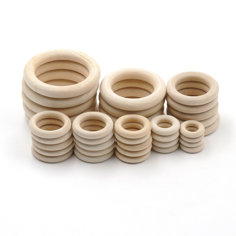 JOJOCHEW 10 Size Fine Quality Ring Natural Wooden Teething Children DIY Wooden Jewelry Making Crafts 50pcs