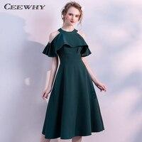CEEWHY Off Shoulder Vintage Ruffle Green Prom Dresses Knee Length Formal Dress Elegant Short Cocktail Dresses Summer