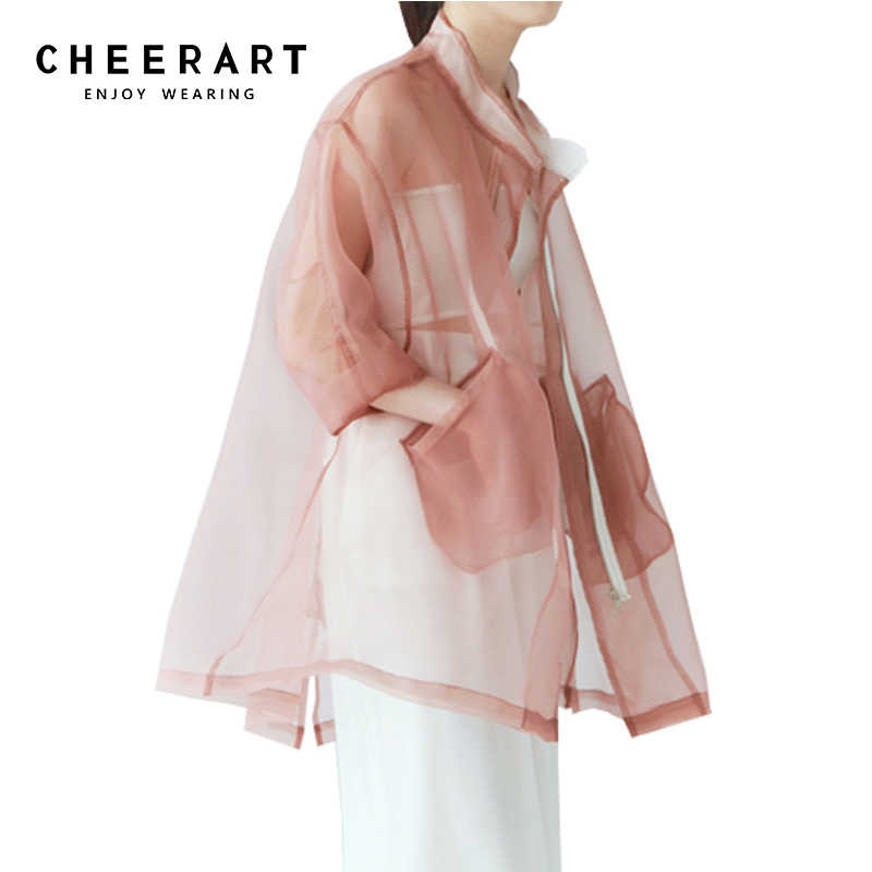 24eb19102b5ee1 ... Cheerart Summer Sheer Kimono Cardigan Organza Transparent Blouse Women  See Through Loose Pink White  ...