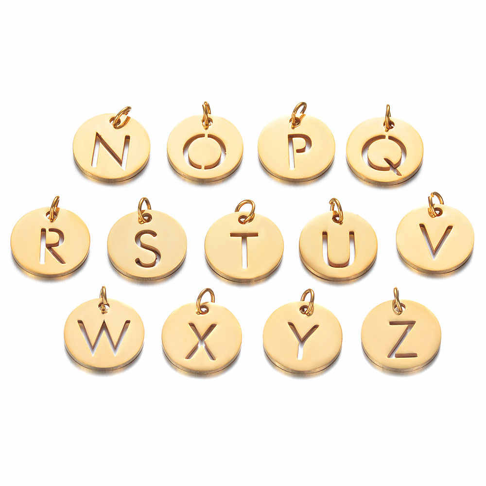 5pcs/lot 100% Stainless Steel Alphabet Charms A-Z Initial Pendant Charms for Bracelets DIY letter Jewelry Charms Wholesale
