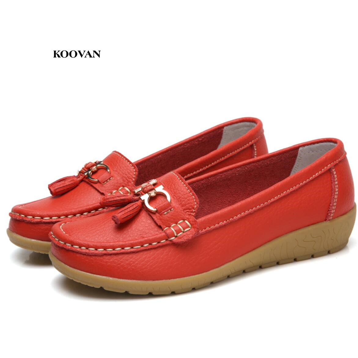 Koovan Women Leather Shoes 2018 Spring New Genuine Leather Aged Mother Shoes Women's Single Peas Soft Bottom Tassel Nurse Shoes aiyuqi 2018 new genuine leather women s shoes shallow mouth soft nurse shoes comfortable work spring shoes women
