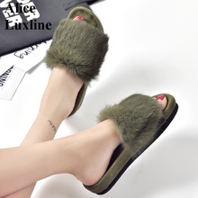 35-39 Autumn real rabbit Fur Flat Woman Sandals Green brown Slip On Ladies Solid Slides outdoor Black Thick Bottom slippers USA