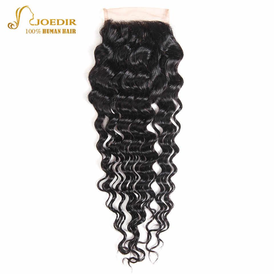 Joedir Волосы Бразильские глубокие синтетические волосы волнистые 4*4 человеческие волосы Кружева Закрытие с волосами младенца свободная часть три части средней части