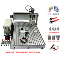 Metal glass wood cnc router 4Axis VFD 2.2KW CNC 6090 milling machine USB PORT engraving router