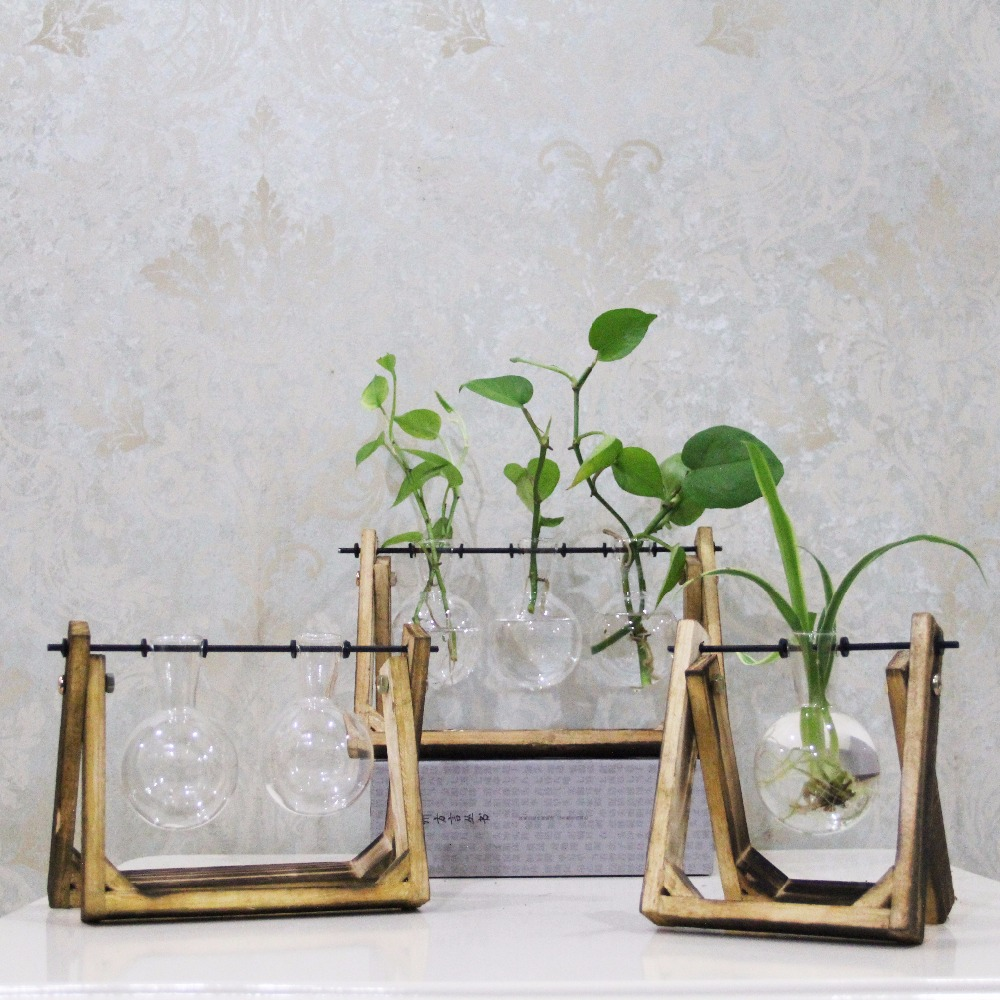 Vintage style glass tabletop plant bonsai flower wedding decorative vintage style glass tabletop plant bonsai flower wedding decorative vase with wooden tray home decoration accessories junglespirit Images