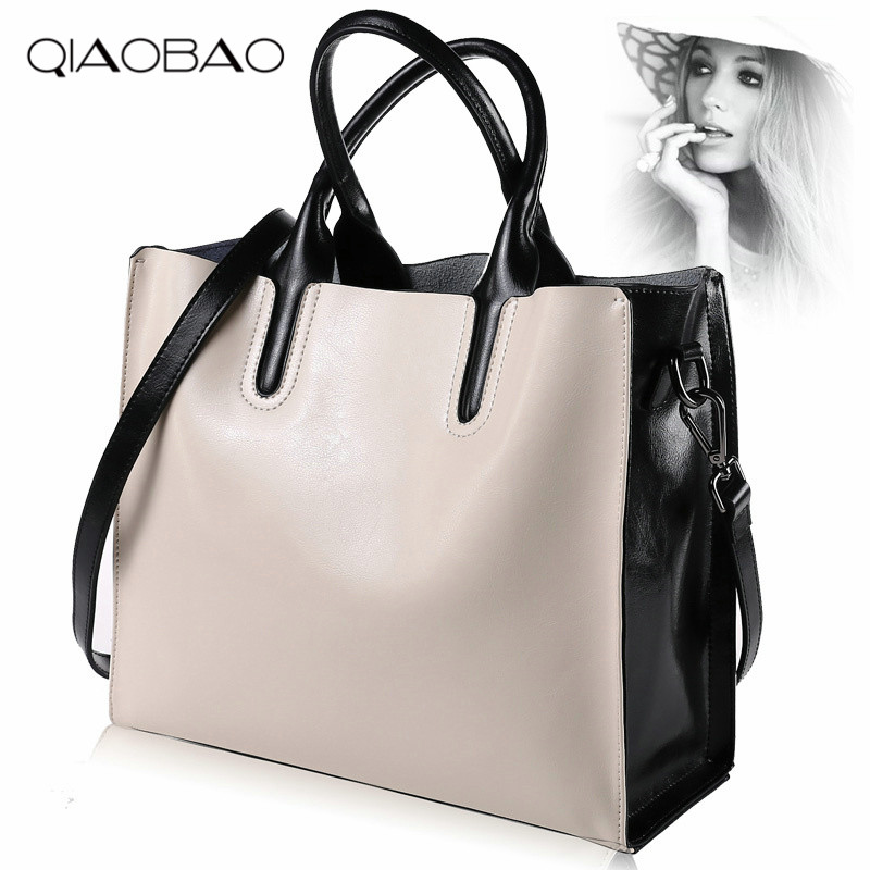 QIAOBAO 100% Cowhide Leather Bags Women's Bucket Famous Brand Designer Handbags High Quality Tote Shoulder Messenger Bag Totes chispaulo women genuine leather handbags cowhide patent famous brands designer handbags high quality tote bag bolsa tassel c165