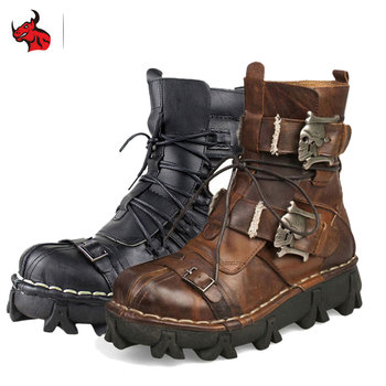 Motorcycle Boots Retro Genuine Cow Leather Skull Punk Shoes Men Motorbike Biker Moto Boots Protective Gear Botas Moto Black