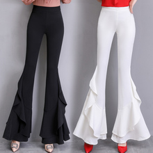 Women Skinny Slim Pants OL Lady High Work Office  Waist Wear Irregular Ruffles Split Fitting Elastic Flare Suit Pants Trousers