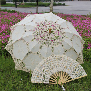 Image 2 - Outdoor Sun Protection Wedding Embrodiery Lace Parasol and Fan Set Party Guest Gifts