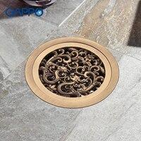 GAPPO Drains Bathtub Shower Drains Shower Fioor Cover Antique Brass Shower Drain Stopper Bathroom Floor Drain