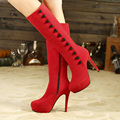 Woman Shoes Long Boots Autumn and winter European High-heeled Short Plush Boots Female Button Non-Slip Botas Feminina