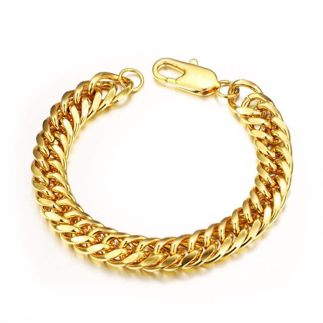810c4b6db2ae placeholder OPK vintage Hombre pulseras oro Color Cubano pulsera de cadena  atractivo hombres joyería precio barato