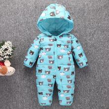 Warm baby romper boys Snowsuit Polyester baby winter romper hoodies Newborn overalls infant girls one-pieces clothes fit -5