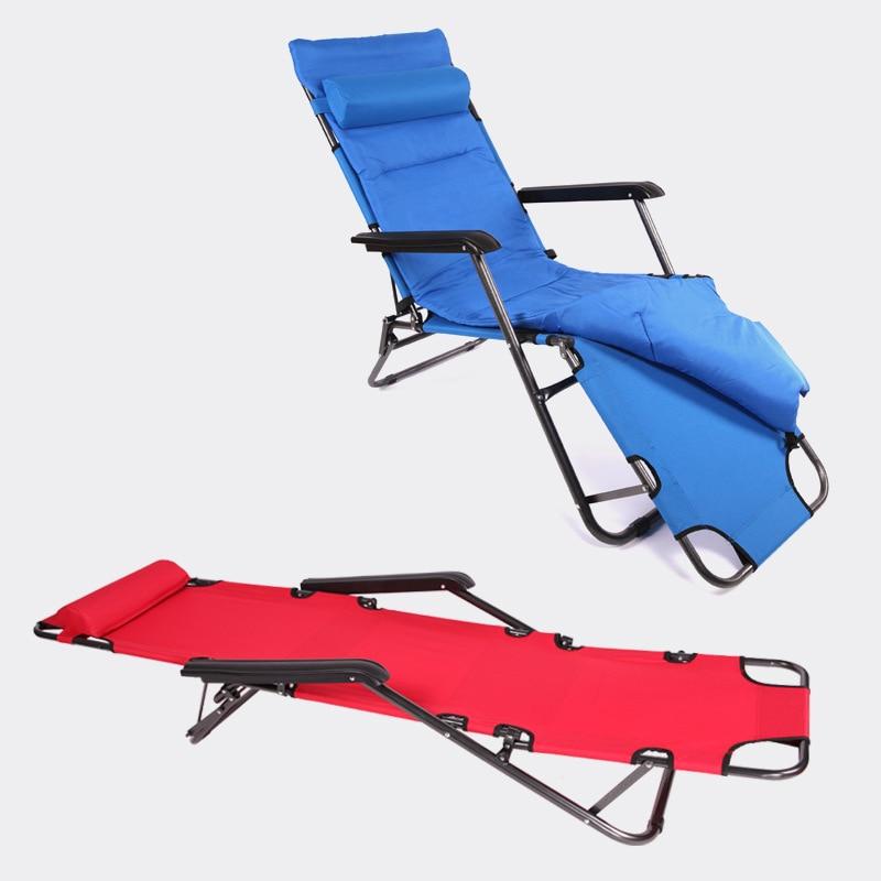 Super Soft Thickening Cushion Folding Sun Chairs Office Leisure Lying Single Bed Portable Dual Purpose Noon Break Beach Chair