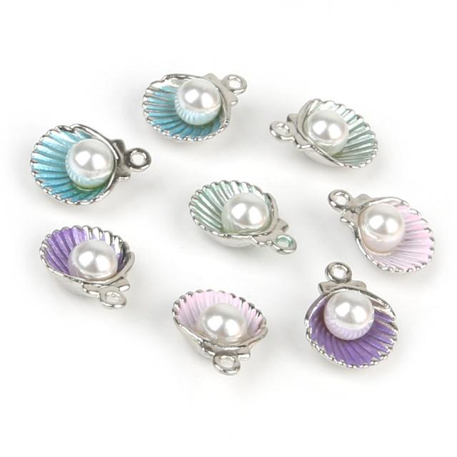 10pcs/lot Enamel Shell Alloy Charm Pendants For Women Earring Jewelry Making Fit Bracelet & Necklace DIY Jewelry Findings 1