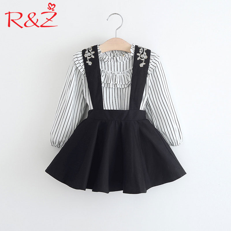 R&Z Baby Girls Clothing 2018 New Spring and Autumn Ruffledcollar Striped Blouse + Black Strap Dress for Kids Children's Clothing