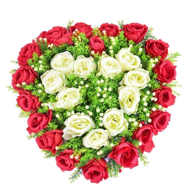 Hochzeit Auto Dekoration Kunstliche Blumen Herz Seide Rose Hochzeit