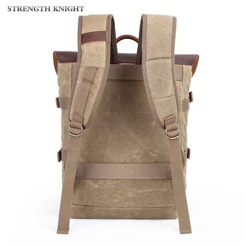 Оригинальный мужской рюкзак из натуральной кожи, большая вместительность, crazy horse, кожаная мужская сумка на плечо для ноутбука, Ретро стиль, ... - 4