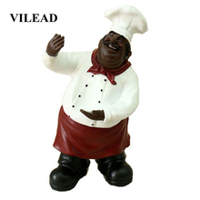 VILEAD 36cm Resin Chef Holding A Wine Rack Figurines People Sculpture Home Table Display Restaurant Creative Nordic Soft Decor