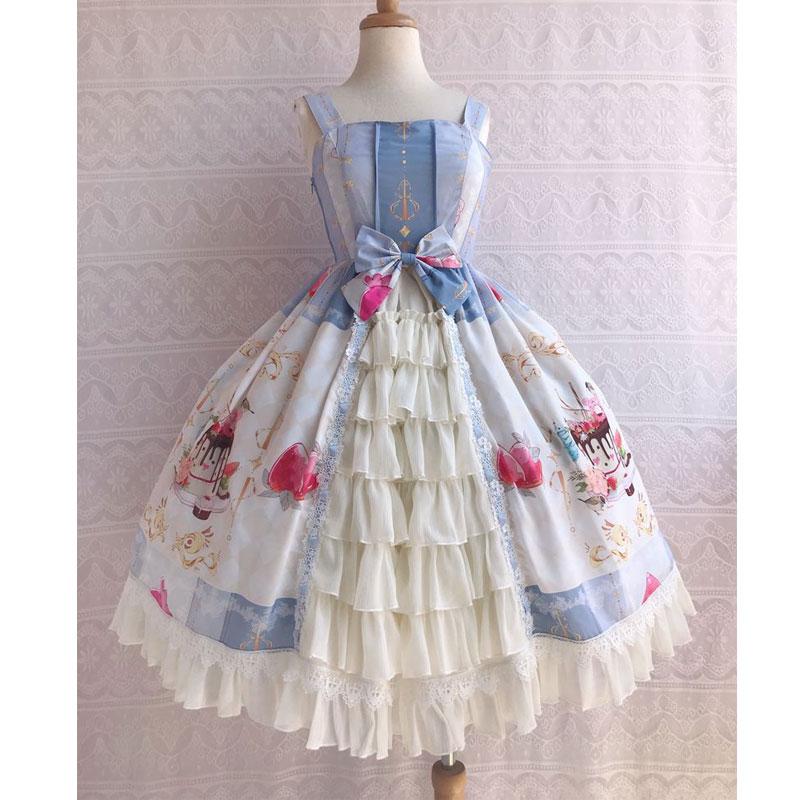 Icy deser ~ słodkie drukowane szyfonowa sukienka na imprezę potargane sukienka Lolita JSK przez Yiliya w Suknie od Odzież damska na  Grupa 2
