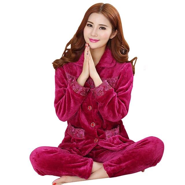 c8b8110f9b Brand Autumn Winter Long Sleeved Women Flannel Thick Pajamas Coral Fleece  Pajama Sets Sweet Pyjamas Women