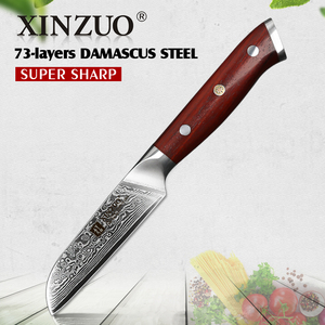 "Image 1 - XINZUO 3.5 ""אינץ קילוף סכין יפן דמשק VG10 פלדה החדש פירות קולפן סכין מטבח סכין אולטרה שארפ עם Rosewood ידית"