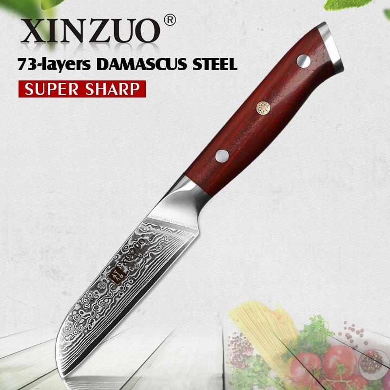 """Xinzuo 3.5 """"inch Schilmesje Japan Damascus Vg10 Staal Nieuwste Fruit Dunschiller Mes Keuken Mes Ultra Sharp Met Palissander Handvat"""