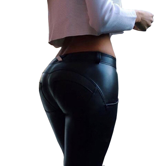 Thickening PU Elastic Leggings Women girls Sexy Hip Push Up Pants Legging For Fitness Jegging Gothic Leggins Autumn winter LG304