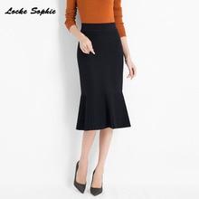 1pcs Hight waist Women Pleated knit skirts 2019 Autumn Knitted cotton Splicing mermaid Long skirt Ladies Skinny