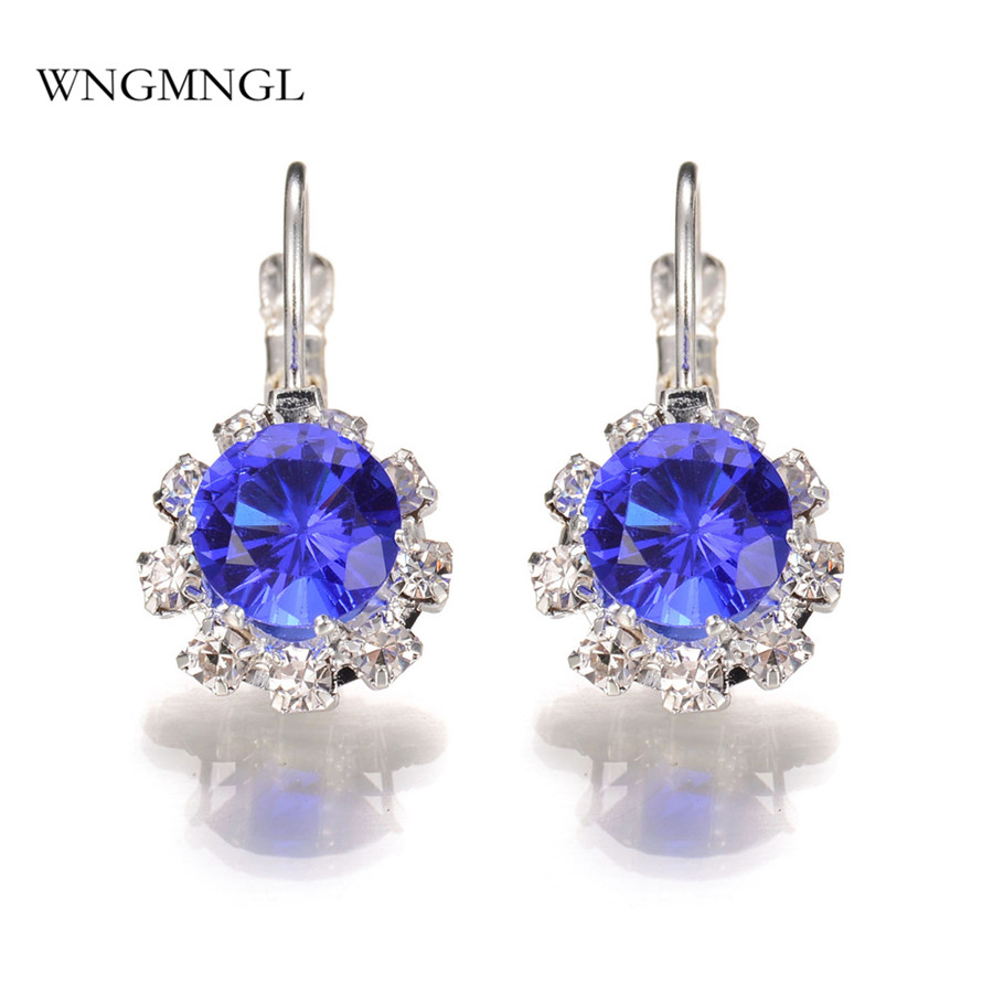 WNGMNGL 2018 New Women Earrings Elegant Luxurious 6 Colors Crystal Hoop For Charm Statement Fashion Jewelry Gift