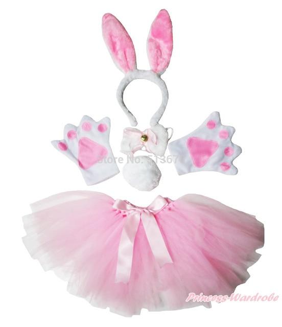 Pascua de Halloween Party Kids Pink Bunny diadema pata de la cola de la gasa de la falda del traje