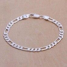 2016 Hot Silver Color Jewelry bracelet, silver plated wristlet vintage-accessories 6mm Flat Bracelet /LZKSZQYY DUUOGGZAI