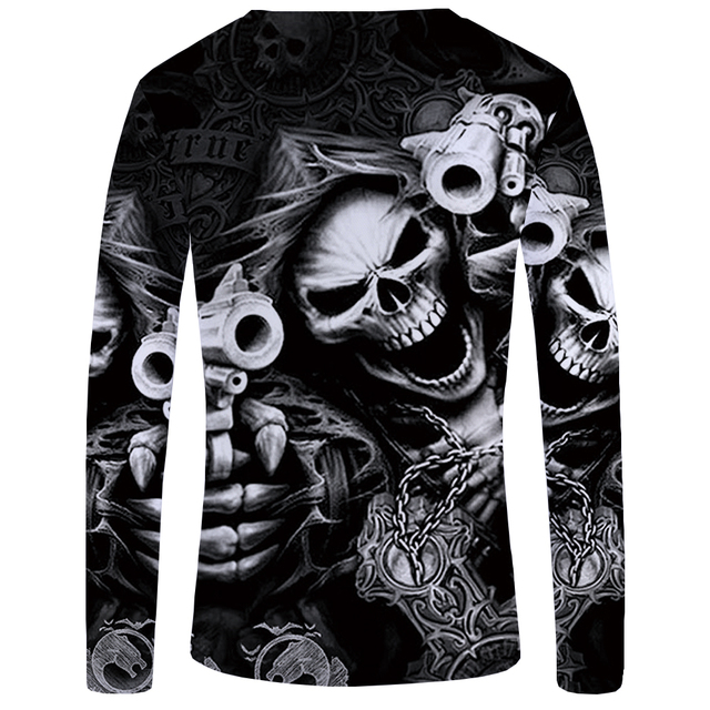 KYKU Brand Skull Long sleeve T shirt Gun Tops Tees Punk Tshirt Gothic Clothing  T shirts  T-shirts Women Rock Funny Fitness